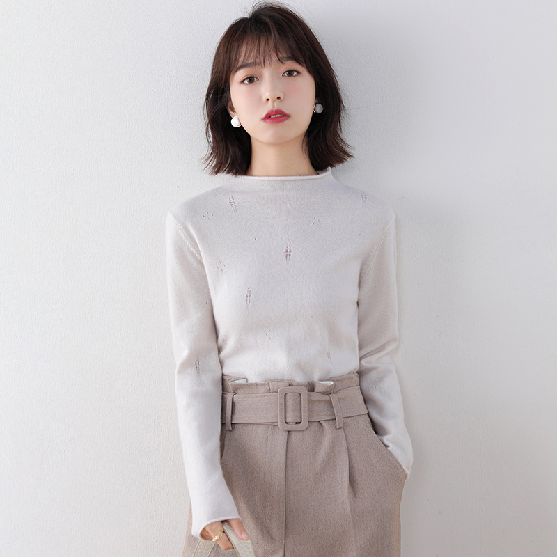 Autumn and winter new cashmere sweater womens half high collar Pullover hollow out sweater slim simple pure color wool bottomed sweater