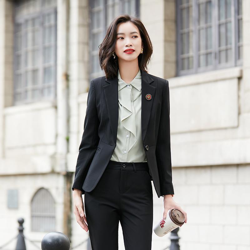 Professional suit suit womens 2020 autumn new fashion temperament formal black long sleeve slim work clothes