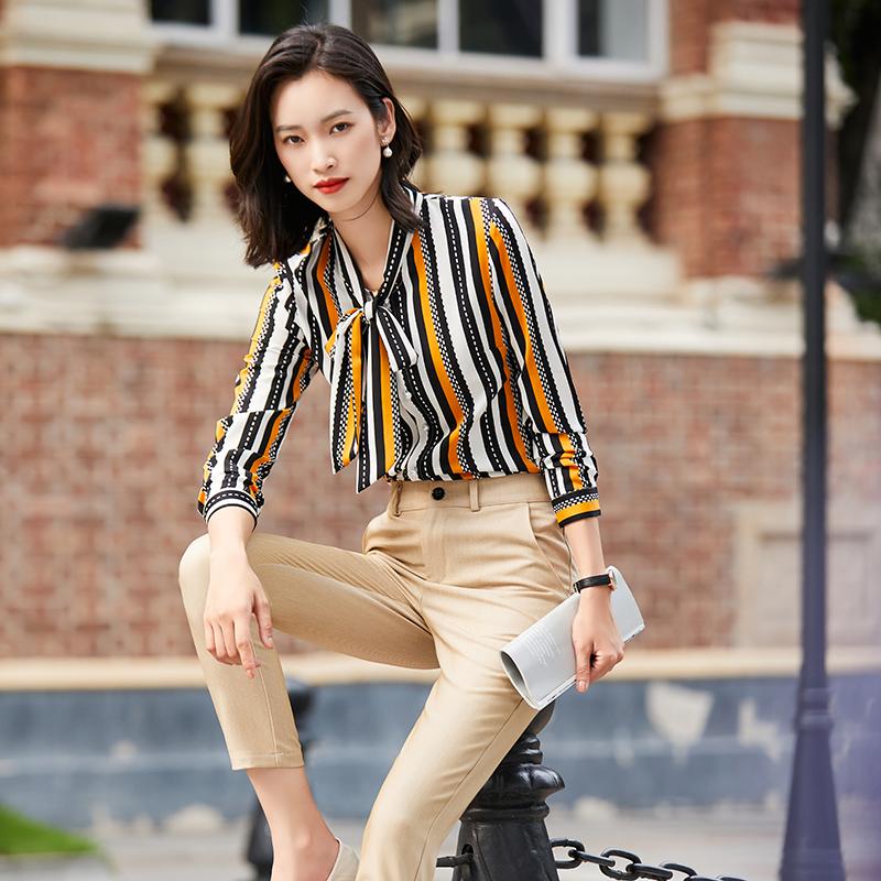 长袖衬衫女设计感小众2020新款时尚气质蝴蝶结上衣职业条纹衬衣秋