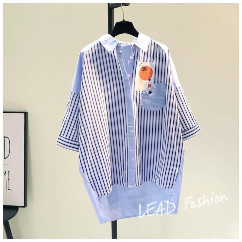 韩国2021夏单口袋休闲蓝色竖条纹拼色棉麻中长款五分袖衬衫女上衣