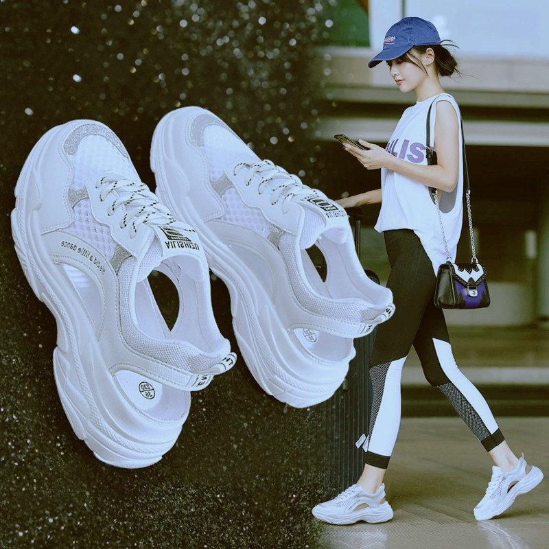 中國代購|中國批發-ibuy99|运动鞋女|2021年夏季新款包头凉鞋女厚底老爹镂空透气休闲运动鞋子