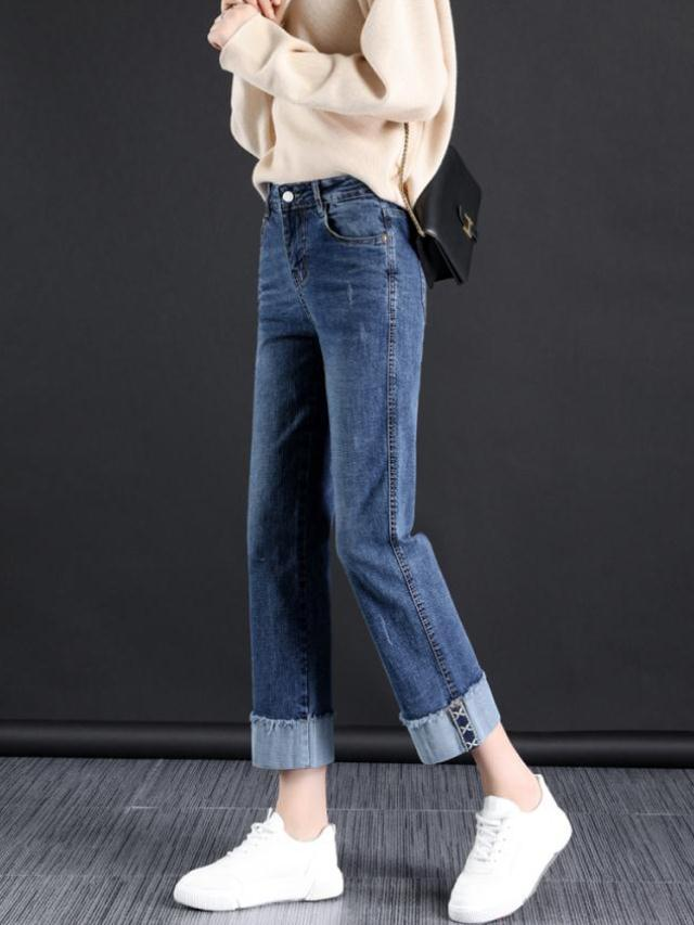 Straight jeans womens spring and autumn Capris 2021 new loose flanging wide leg pants popular womens pants fashion