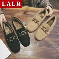 毛毛鞋女外穿秋冬新款气质豆豆鞋时尚百搭一脚蹬加绒保暖休闲单鞋