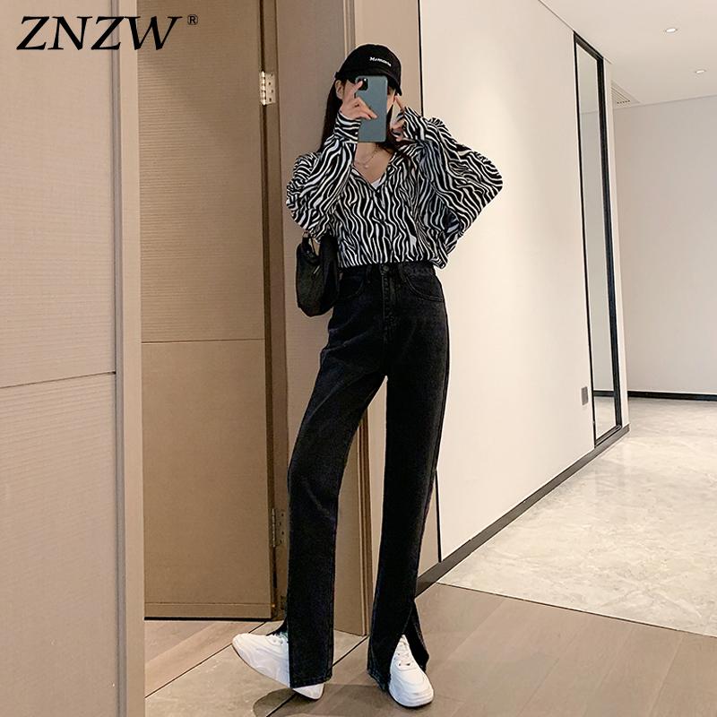 ZNZW黑色开叉牛仔裤女高腰显瘦2021新款直筒宽松垂感阔腿裤潮ins