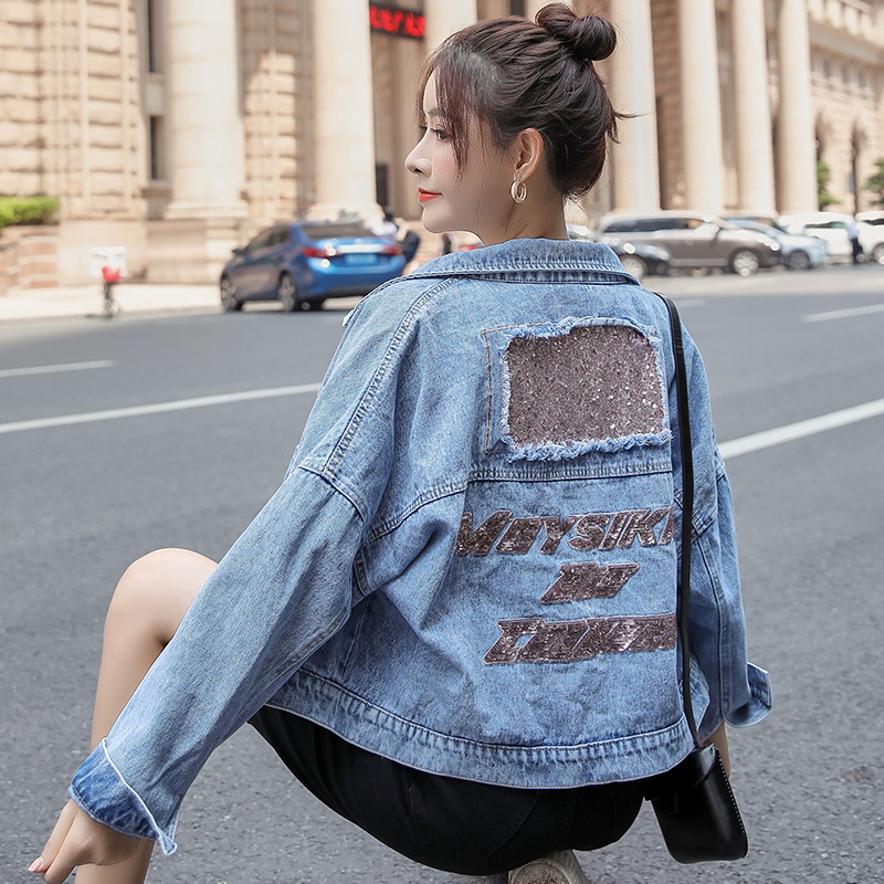 Autumn 2020 new loose jacket womens Korean Sequin perforated jacket tooling short jeans Halloween