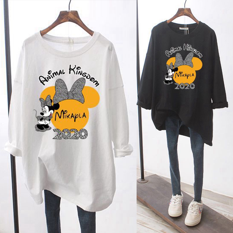 2020 new white bottomed shirt womens spring and autumn long sleeve inner top Korean loose foreign style black round neck T-shirt