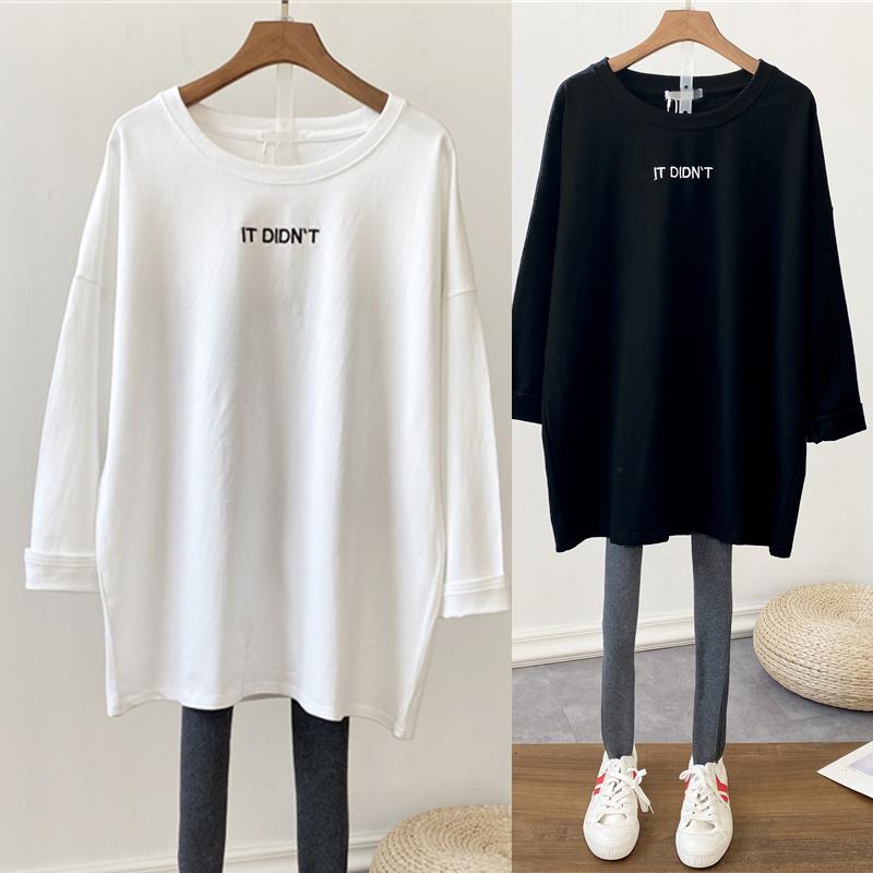 新款刺绣t恤女宽松中长款白色纯棉长袖黑色开叉秋冬季减龄打底