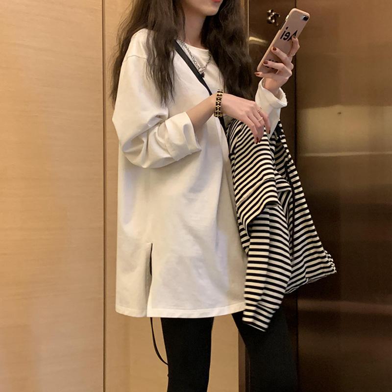 韩版新款内搭白色T恤女宽松开叉中长款上衣圆领长袖打底衫春秋ins