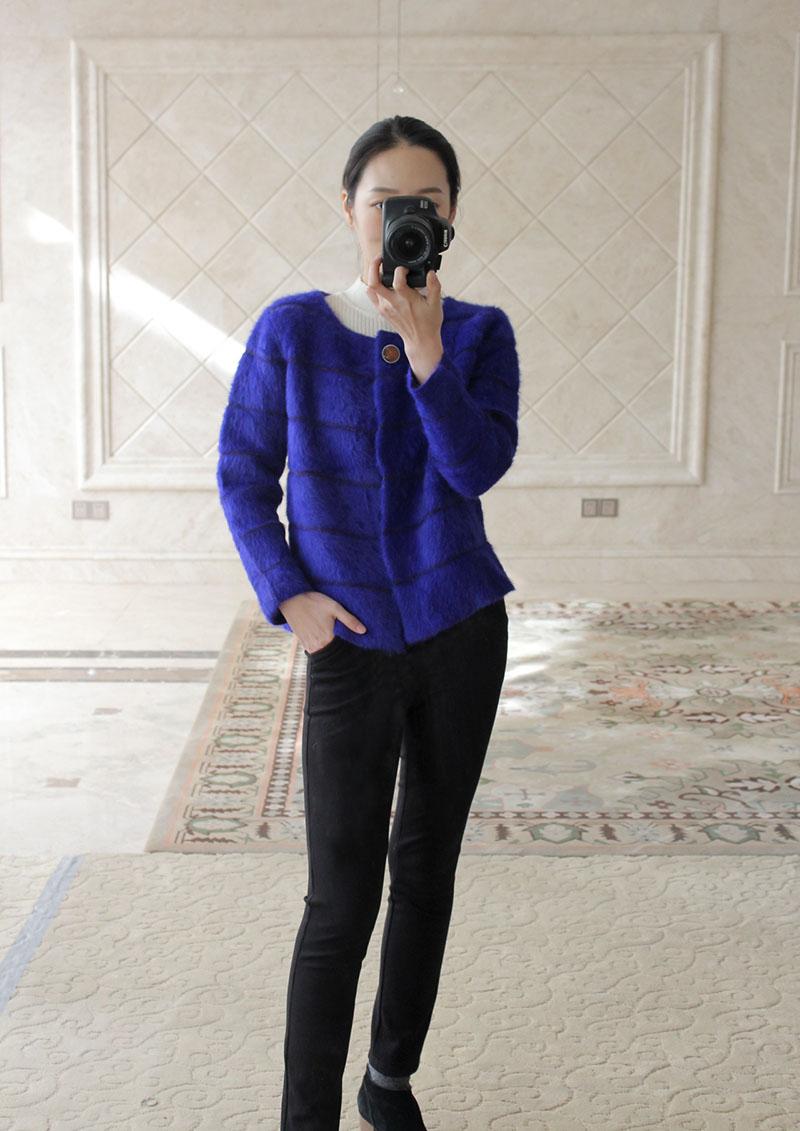 新品 宽松短款横条长毛貂e绒外套  女圆领针织衫 开1衫 貂绒大衣
