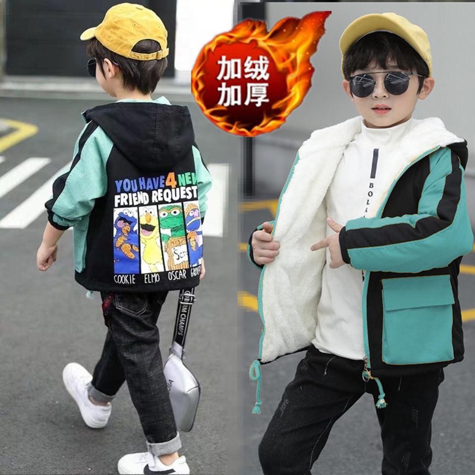 童装男童外套加绒秋冬款2020新款儿童风衣加厚休闲男孩中款上衣帅