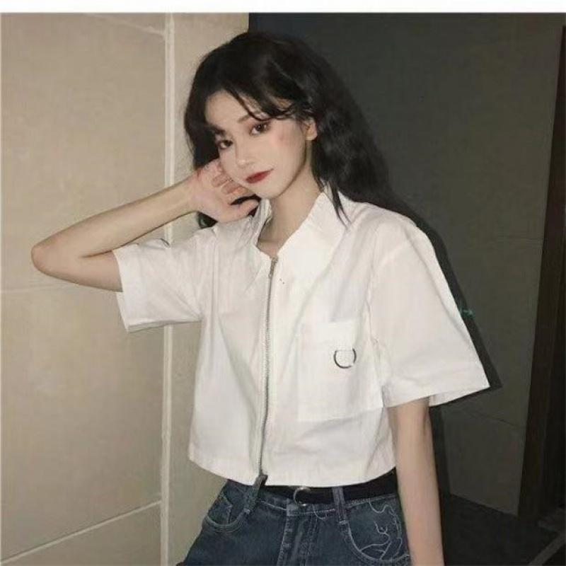 原宿风白色女夏2021新款设计感衬衫