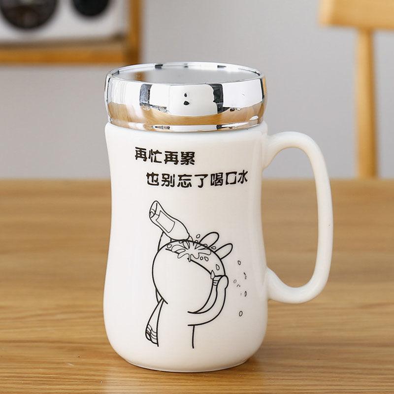 定制卡通陶瓷杯办公杯马克杯带盖镜面茶水杯咖啡杯牛奶杯礼品杯05