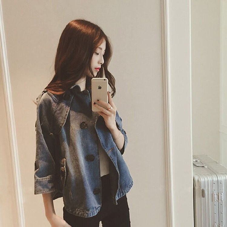 Spring and Autumn New Korean loose short versatile Casual Jacket Top 7 / sleeve Cape jeans jacket