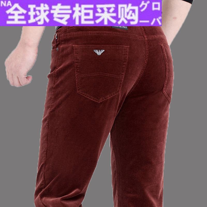 日本HR冬装男士灯芯绒休闲裤 厚款中老年男士直筒休闲裤