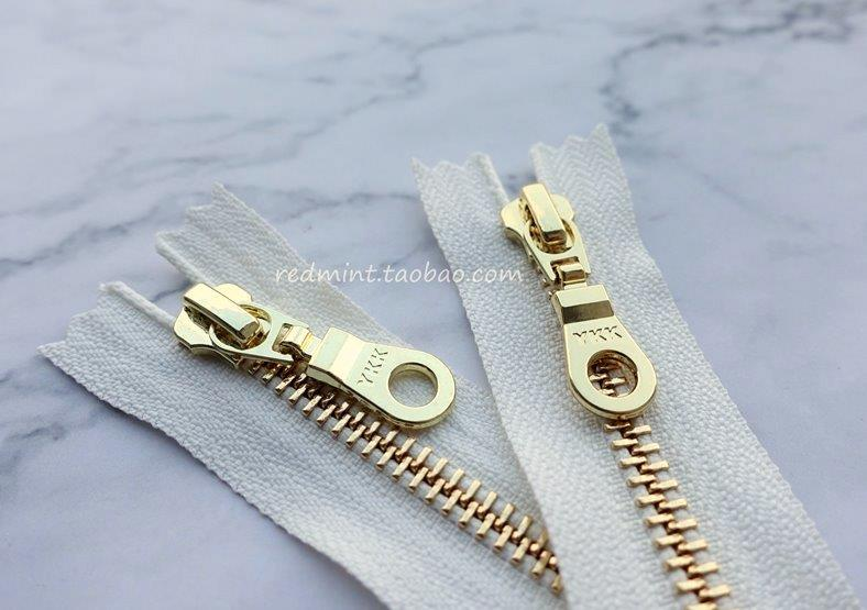 High grade hanging plated zipper No. 5 bright gold closed tail white bag wallet clothes skirt waist shoes boots copper zipper lock