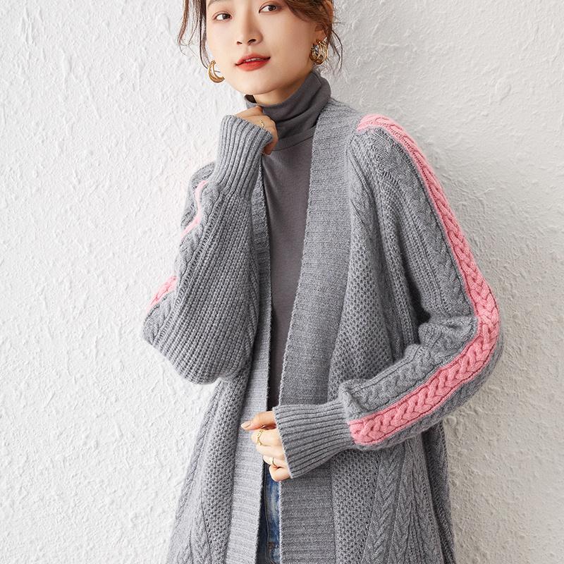 秋冬季女针织衫中长款羊毛衫开衫百搭外套长袖提花无扣韩版毛衣