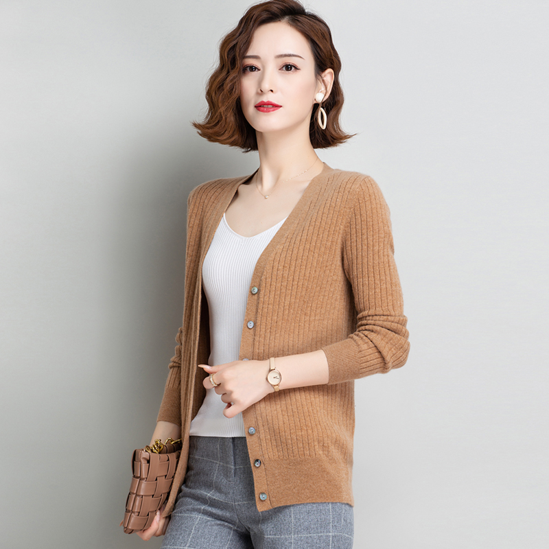Spring and autumn new V-neck cashmere cardigan womens sweater jacket slim short wool sweater