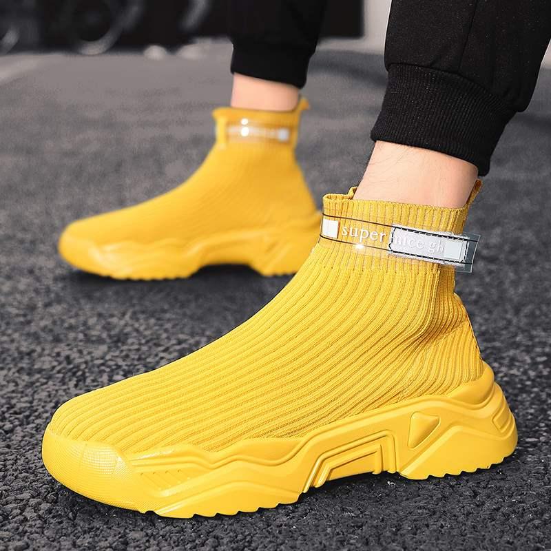 秋冬季没有鞋带袜子鞋男士高帮针织运动潮流男鞋飞织无鞋带休闲鞋
