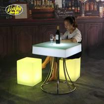 清吧桌椅酒吧茶几休闲组合花园阳台七彩塑料桌椅户外发光家具led
