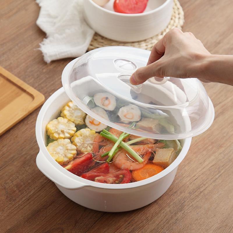 塑料圆形汤碗汤锅微波炉加热饭盒带盖汤盆煲保鲜盒泡面碗器皿