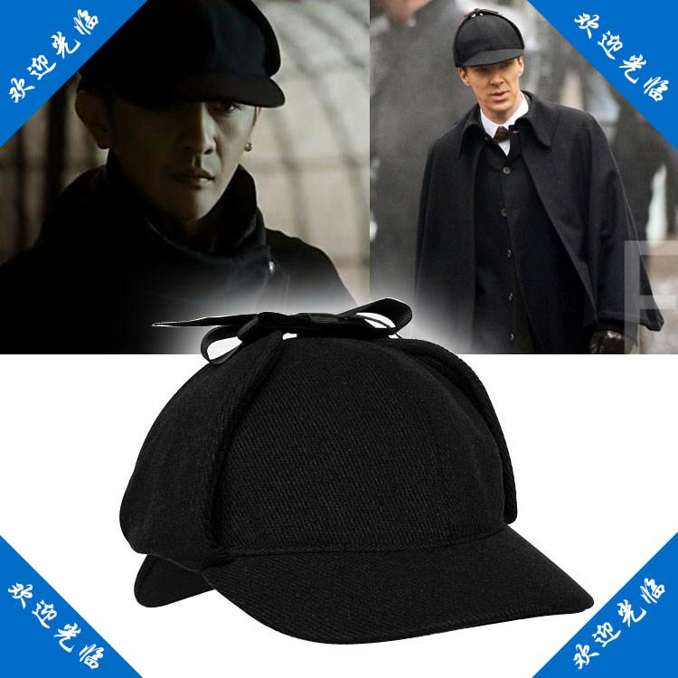 周辺の帽子のホームズのファッション巻き鹿の男女の帽子の黒色の福の帽子のシャーロックのホームズの探偵