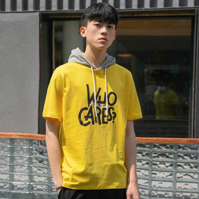 2021 summer mens short sleeve t-shirt mens clothing youth t blood cotton contrast color hooded fashion brand half sleeve shirt mens high collar