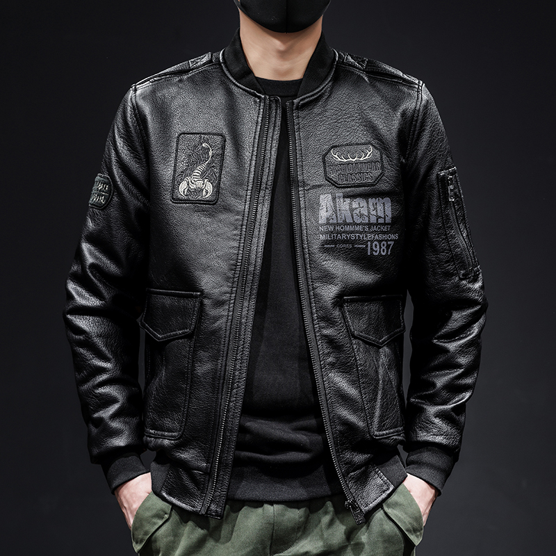 Spring and autumn leather jacket mens coat green middle-aged winter cotton thickened warm flight suit locomotive suit Korean trendy man