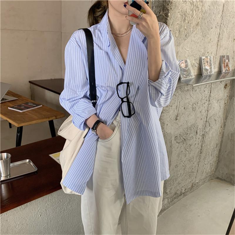 意芭舒夏2020新款宽松男友风设计感小众条纹衬衫ins潮长袖上衣女