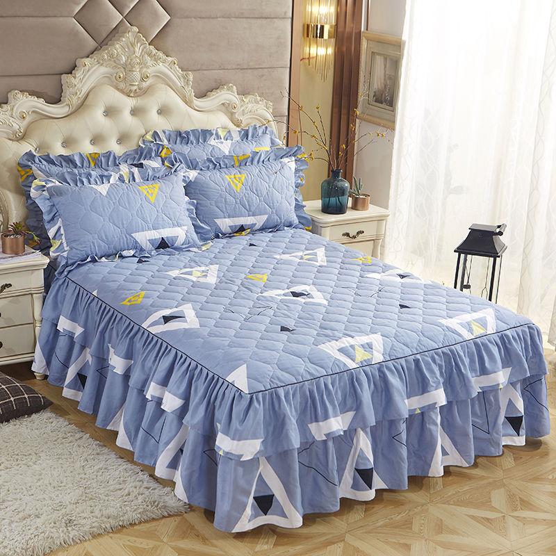 秋冬加厚夹棉床裙单件夹棉床裙三件套 韩式床裙床罩防滑保护套