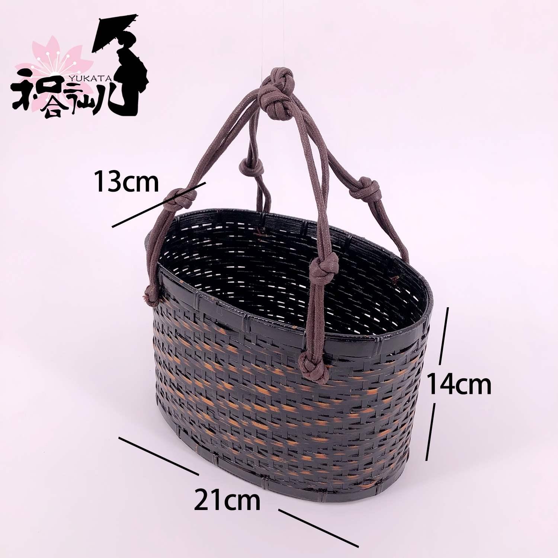 【和合二仙儿】日式搭配和服浴衣手工竹编篮子手袋
