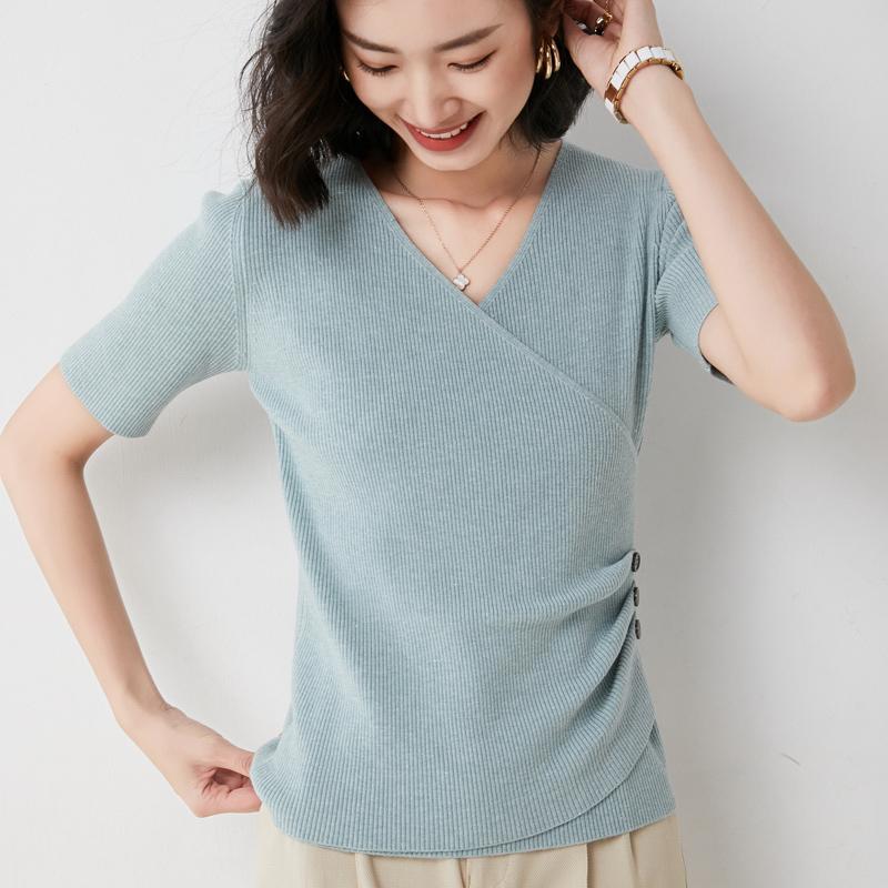 Cross V-neck short sleeve T-shirt womens 2021 summer new slim T-shirt fashion versatile sweater bottom shirt