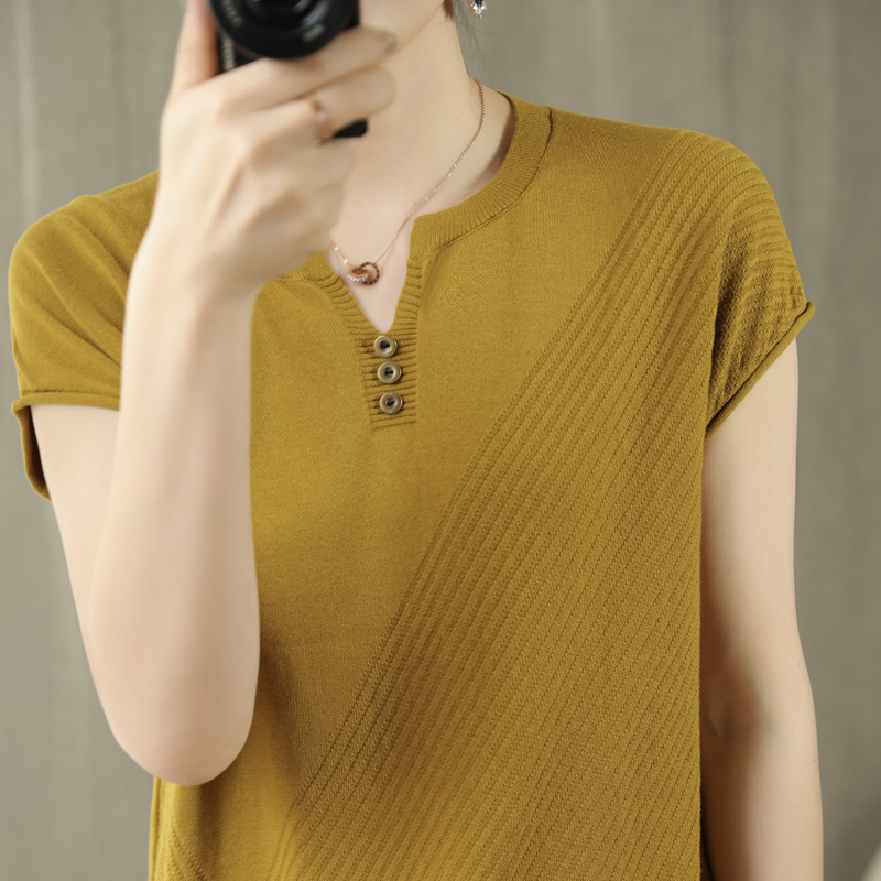 New pure cotton short sleeve knitted T-shirt womens V-neck loose short top casual half sleeve vest bottomed shirt women