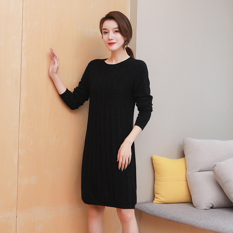 Woolen sweater new 2020 popular cashmere solid color bottom coat womens autumn and winter foreign style fashion long loose dress