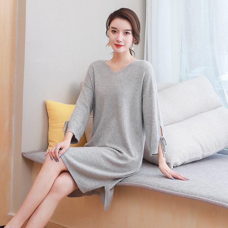 Woolen sweater womens middle long winter V-Neck Sweater with thickened knitted knee high cashmere