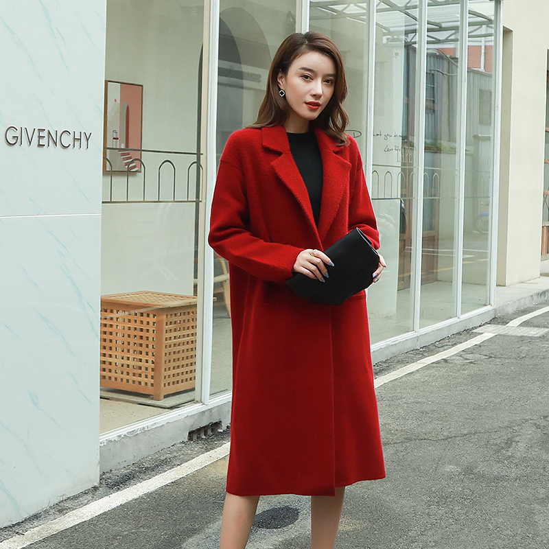 Cicimy pure wool cardigan coat womens autumn and winter new lazy wind long thick needle cashmere sweater coat thick