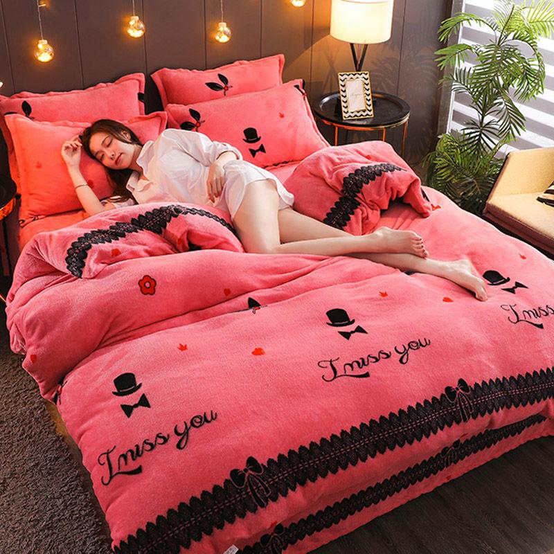 加厚珊瑚绒四件套床上用品双面法兰绒加绒冬季宿舍床单被套三件套