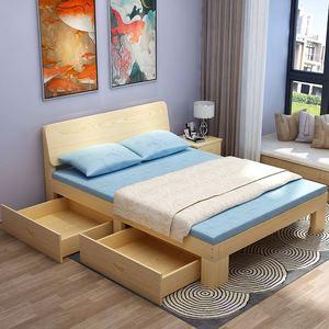 出租单人木床型现代双人家具1米北欧房实白经济1米8简约新款5卧。