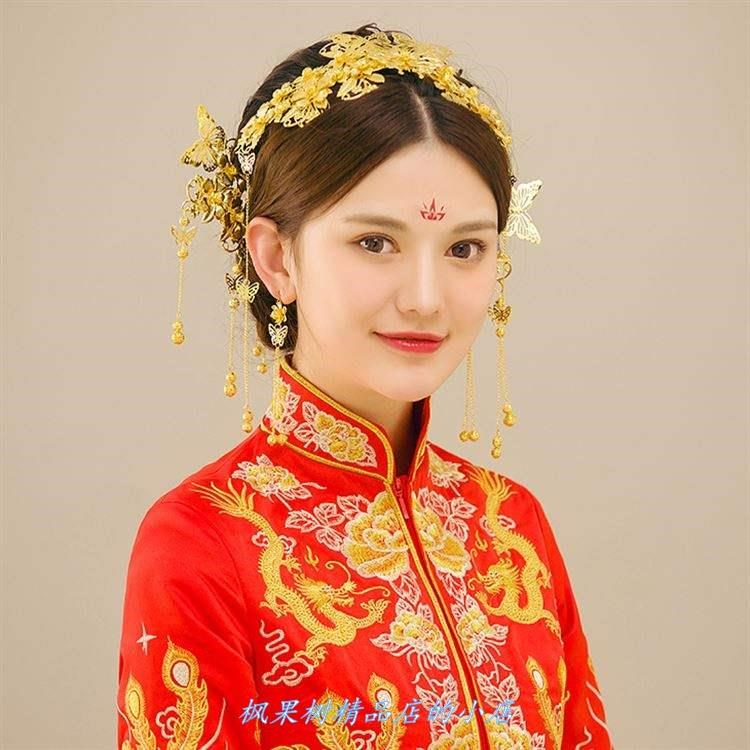 Wedding dress Chinese style atmosphere bridal costume headdress Tang costume beautiful bridal makeup simple show Hefu crown bride