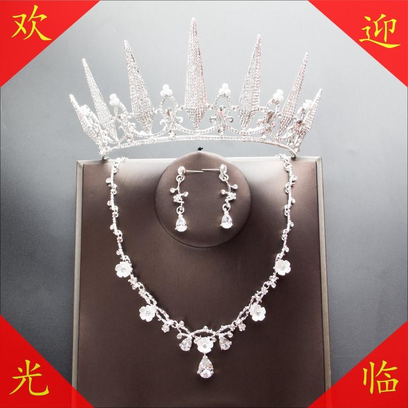 Princess Bridal ceremony crown headdress adult wedding dress birthday style crown dress atmosphere 18 years old Han
