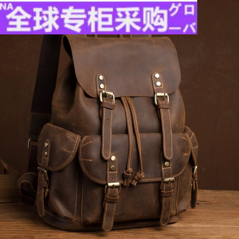 Japanese FG new Crazy Horse Leather Backpack retro top Leather Handmade backpack leather casual computer backpack