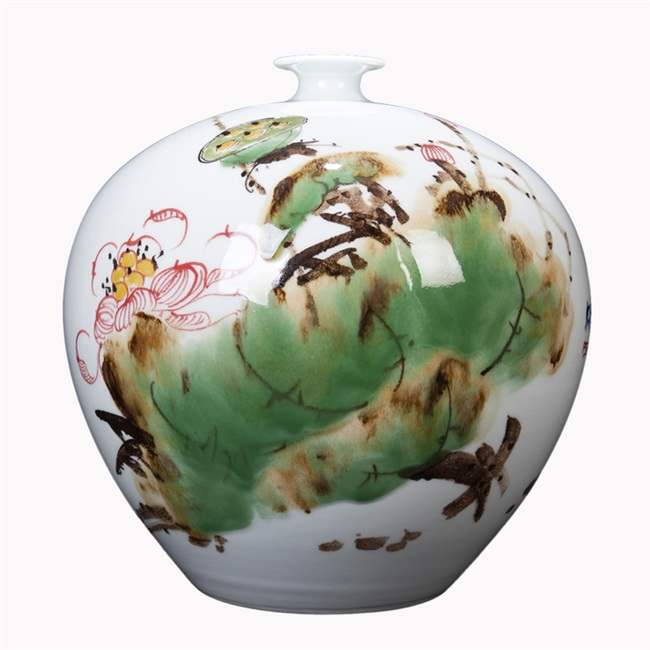 景韵雅成景德镇陶瓷 手绘牡丹花瓶装饰品摆件 家居客厅玄关瓷器