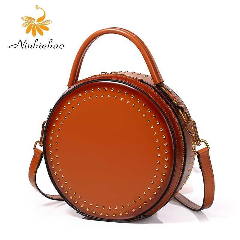 . Cowhide bag womens 2020 new single shoulder bag retro fashion rivet handbag casual versatile small round bag