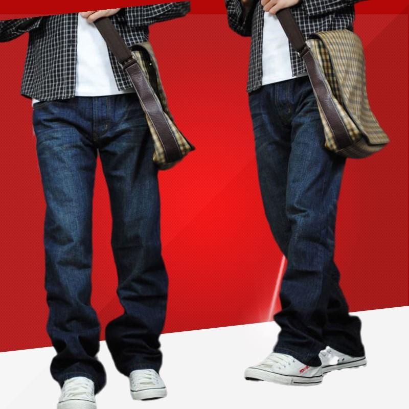 秋冬季牛仔裤男式直筒宽松款长裤子加肥加大码胖子粗腿装加厚加绒