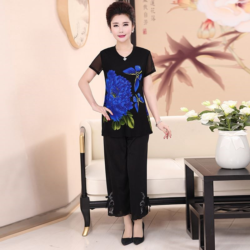 . Mothers Day Womens summer short sleeve grandmothers suit