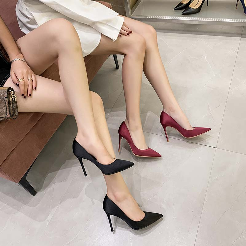 2021 new silk satin high heels womens thin heel 10cm sexy versatile professional single shoes black pointed womens shoes