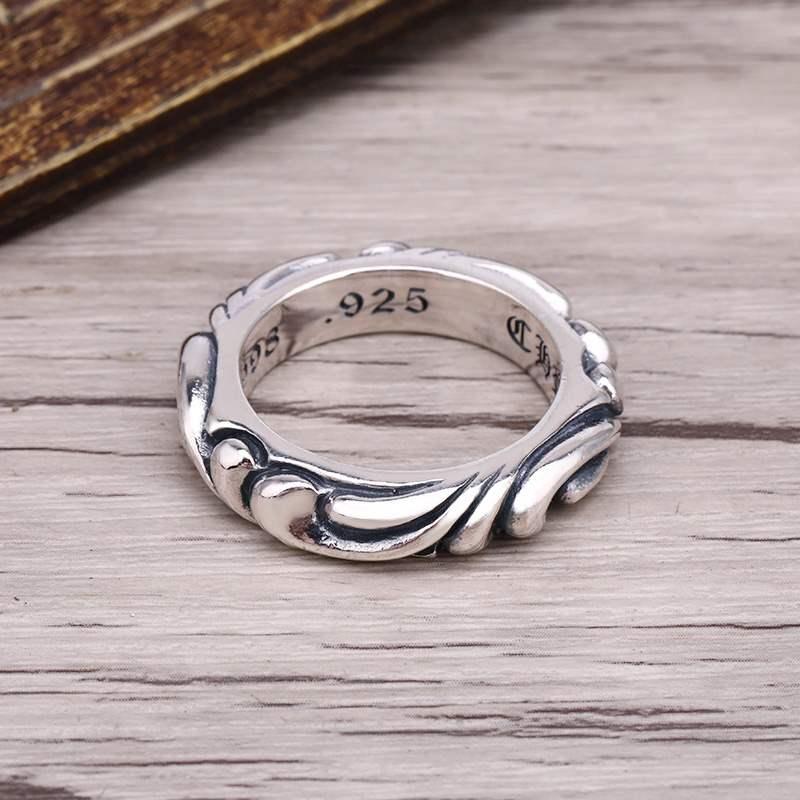 925纯银永恒之藤戒指女泰银个性潮人时尚学生潮牌十字花情侣指环