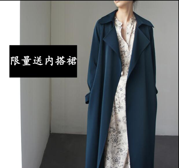 极简孔雀蓝风衣special哑光缎长款过膝风衣翻领外套时髦