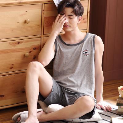 背心睡衣男夏天薄款纯棉加大码青少年男士家居服夏季男式无袖套装