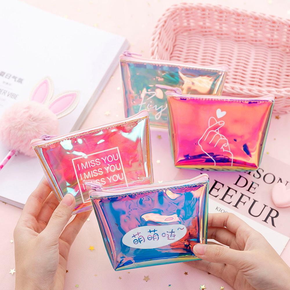 零钱袋迷你小钱包创意可爱镭射炫彩零钱包韩国ins潮硬币包女简约