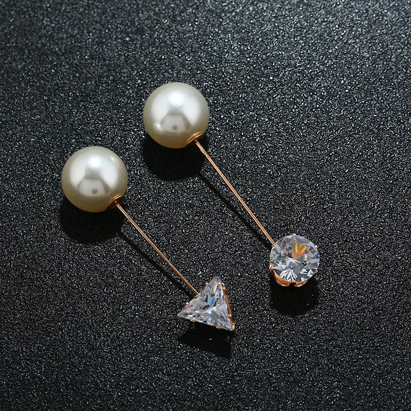 韩版潮流热卖几何胸针 气质百搭水钻圆三角一字珍珠配饰男女通用